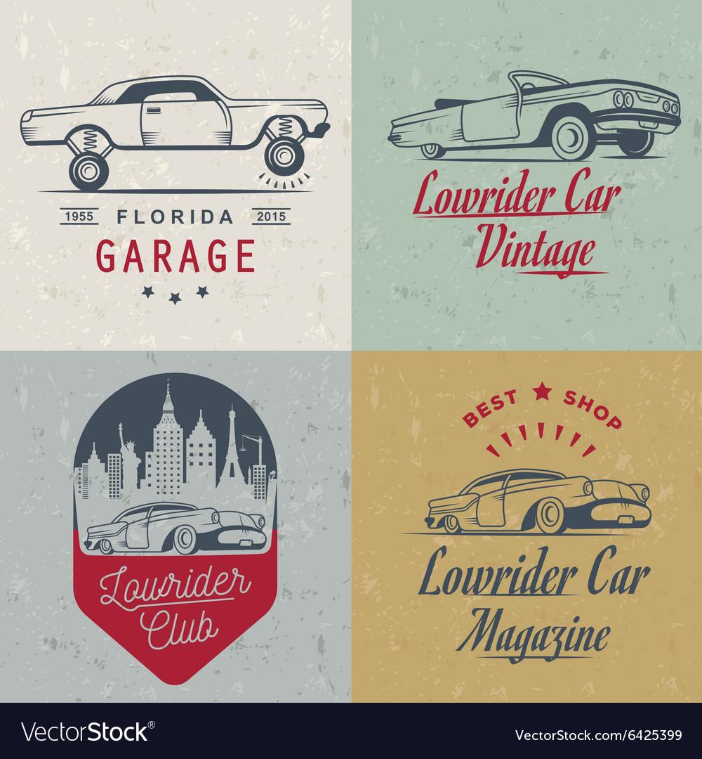 Set Vintage Lowrider Logo Badge and Sign