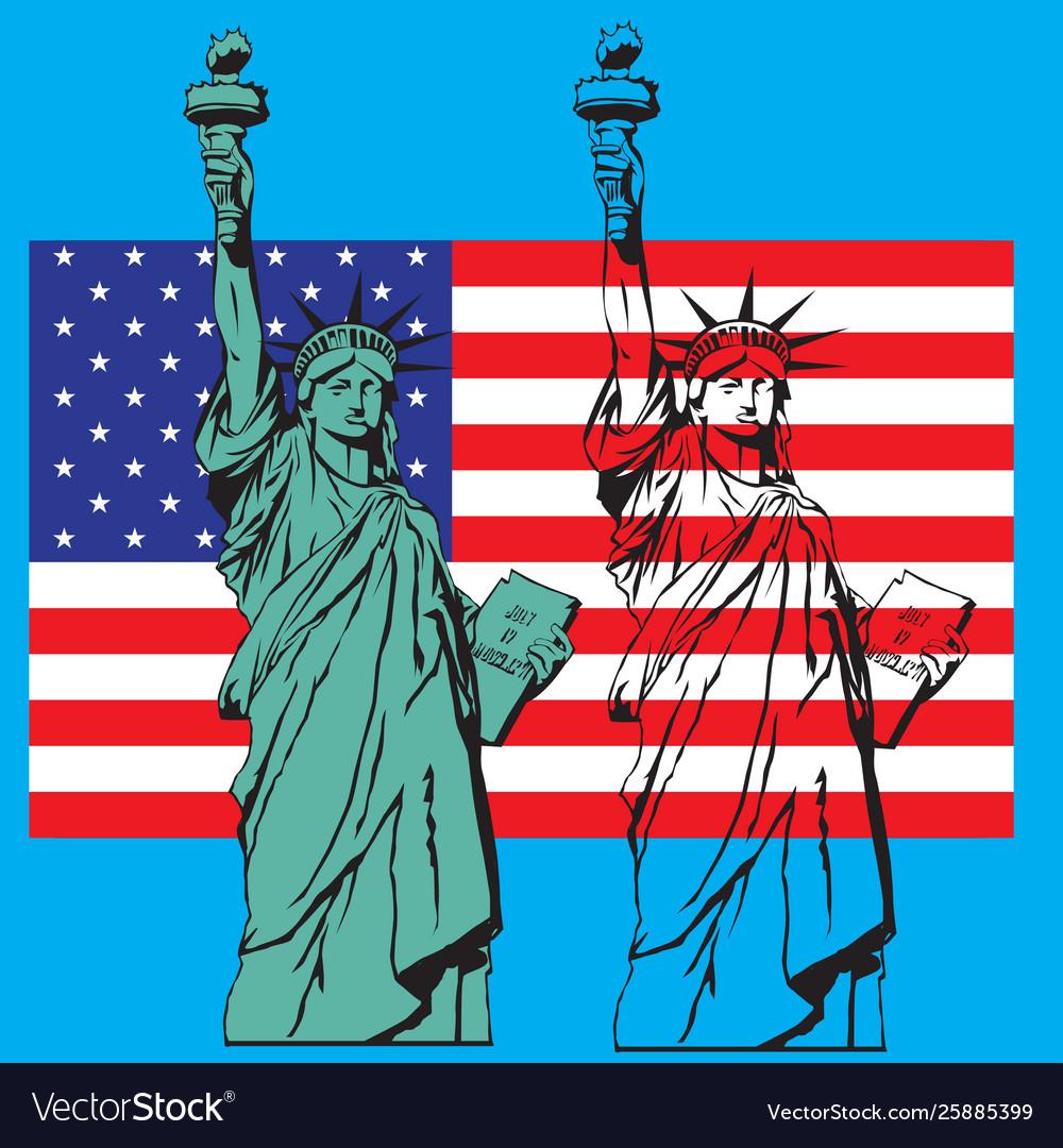 Statue liberty symbol new york or usa us