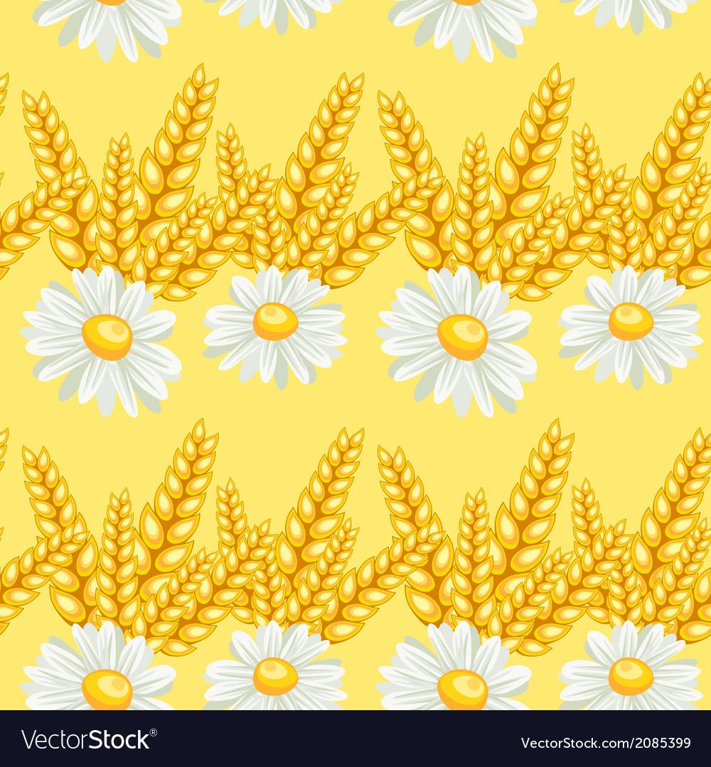 Summer chamomile field seamless pattern vector image