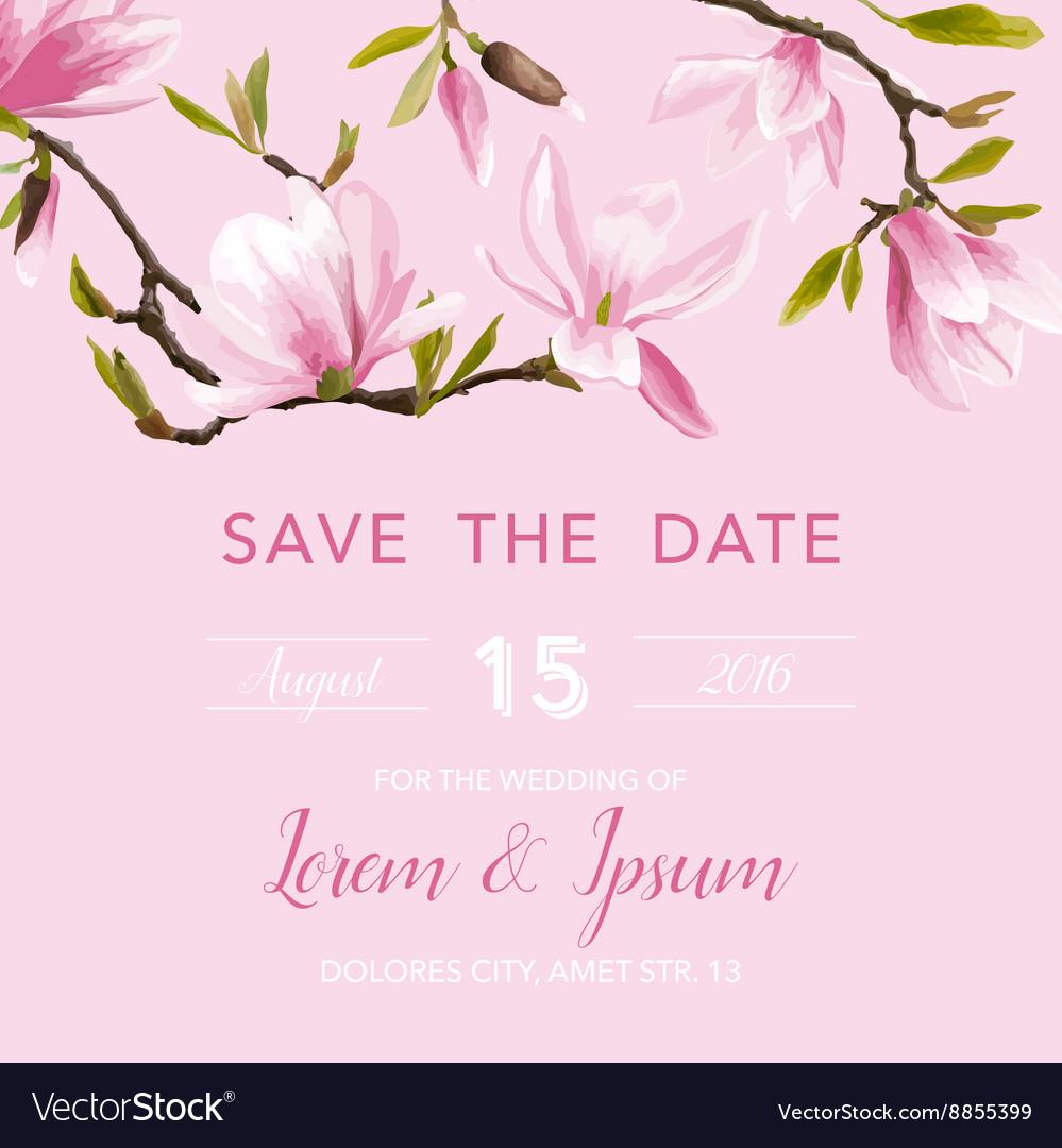 Wedding Invitation Card - with Floral Magnolia