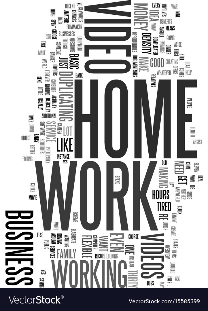 Work at home with video text word cloud concept