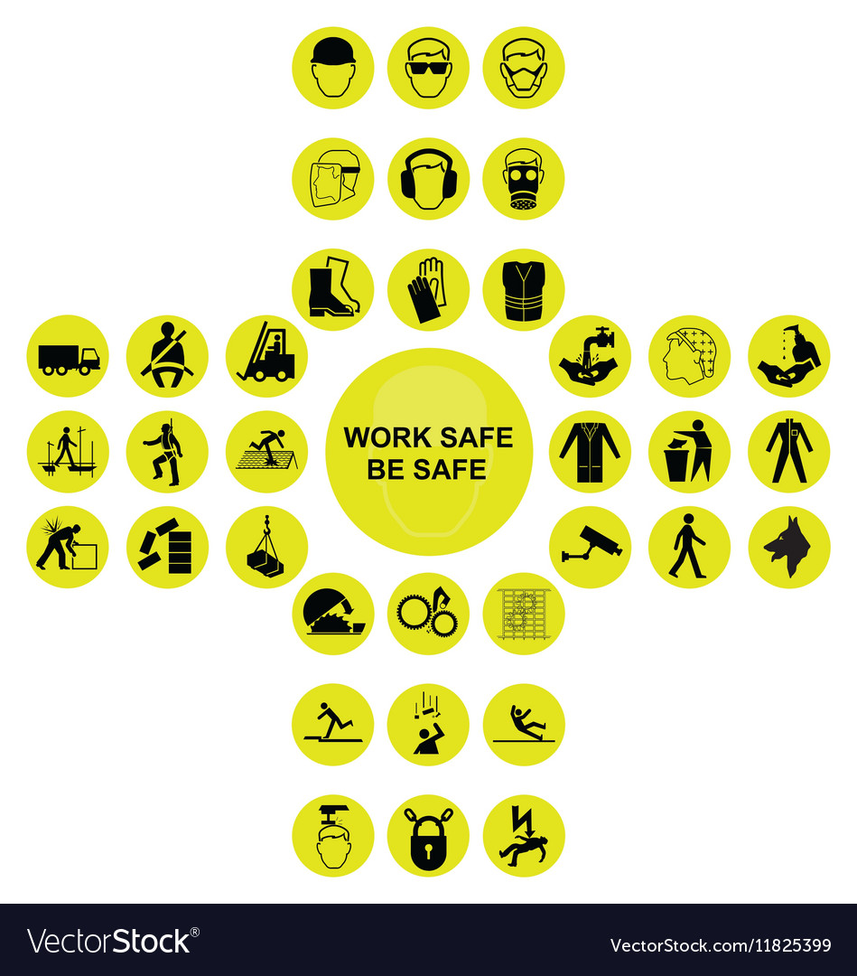 Yellow Cruciform Health And Safety Icon Collection With these safety icon resources, you can use for web design, powerpoint presentations, classrooms, and other. vectorstock