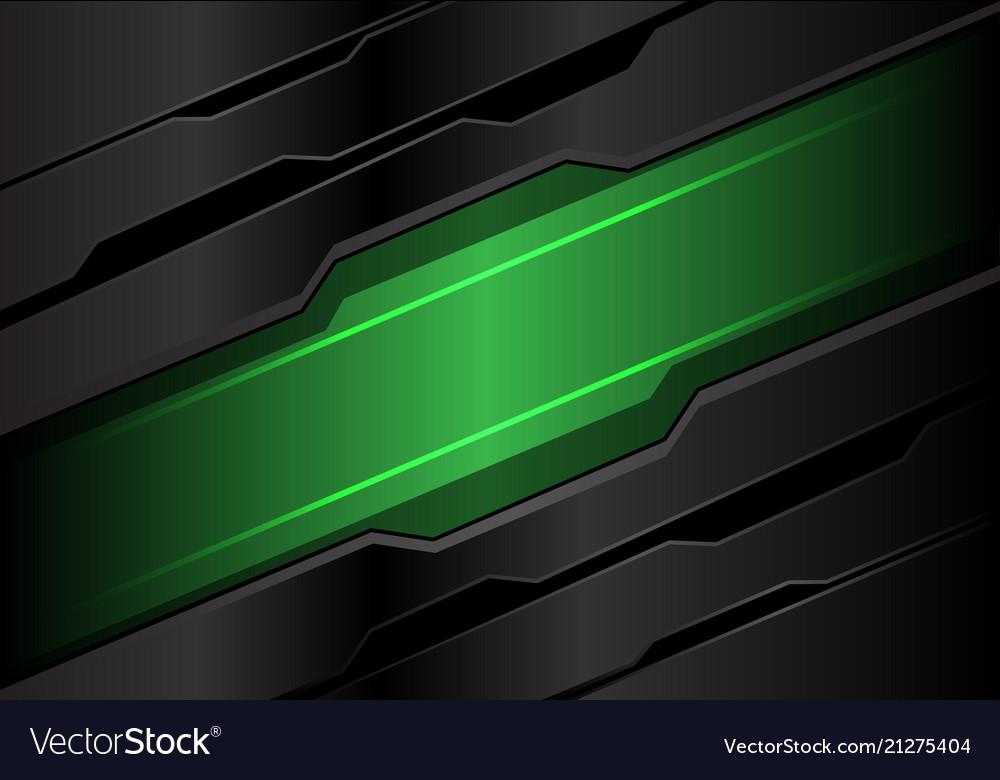 Abstract green light banner on dark gray metal