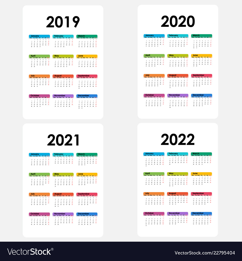 Uf Calendar 2022 Summer.Calendar 2019 2020 2021 And 2022 Royalty Free Vector Image