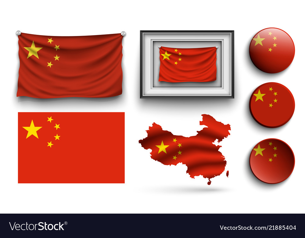 China flags collection isolated on white