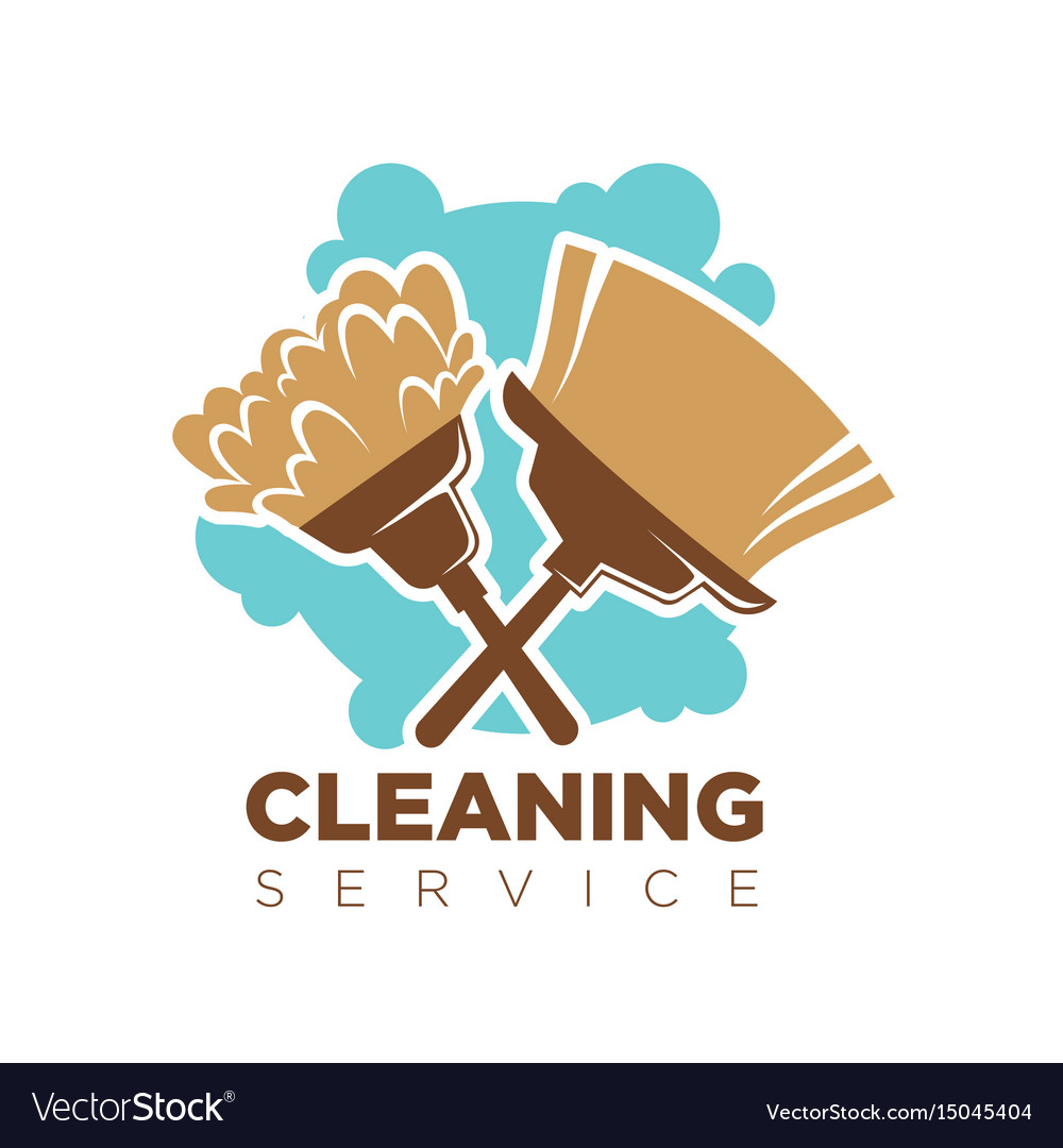 Cleaning service isolated logotype with broom and