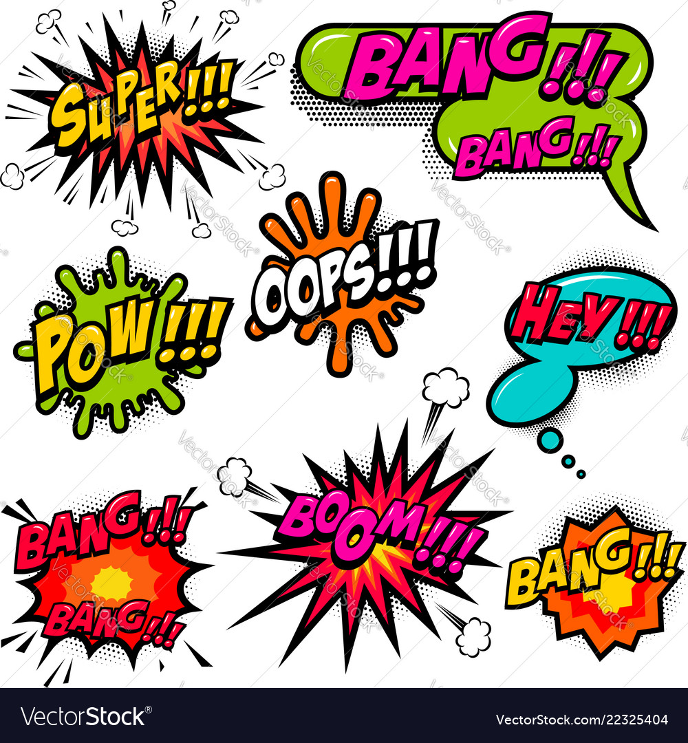 Comic speech bubbles burst the boom wow hey ok