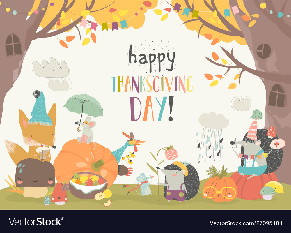 Cute animals celebrating thanksgiving day in the