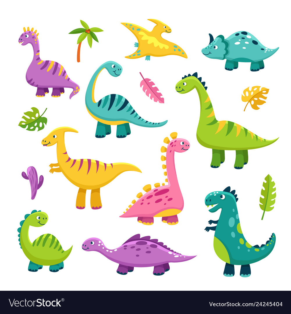 Cute dino cartoon baby dinosaur stegosaurus
