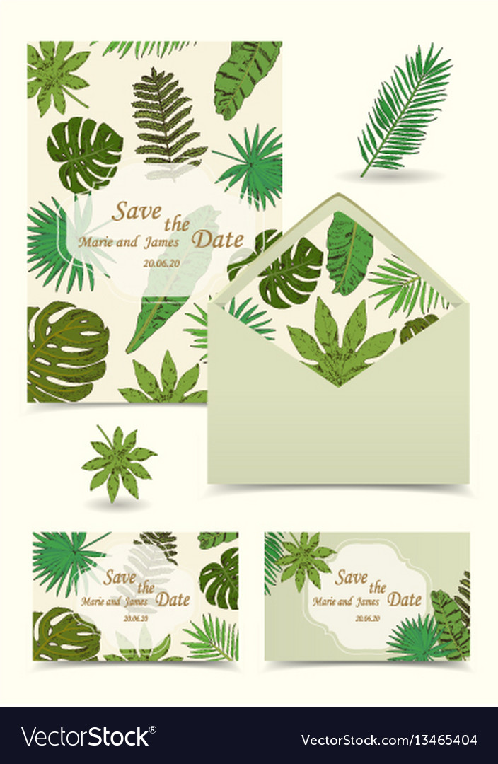 Floral tropical wedding set with isolated palm