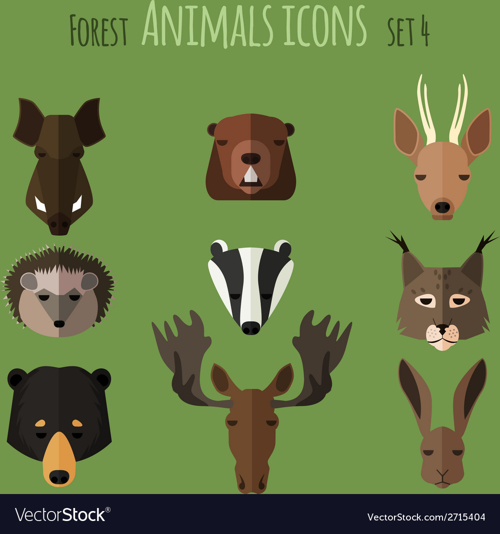 Forest animals flat icons Set 2