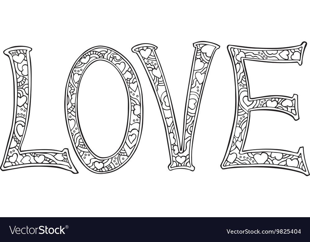 Hand drawn monochrome text LOVE isolated on white vector image