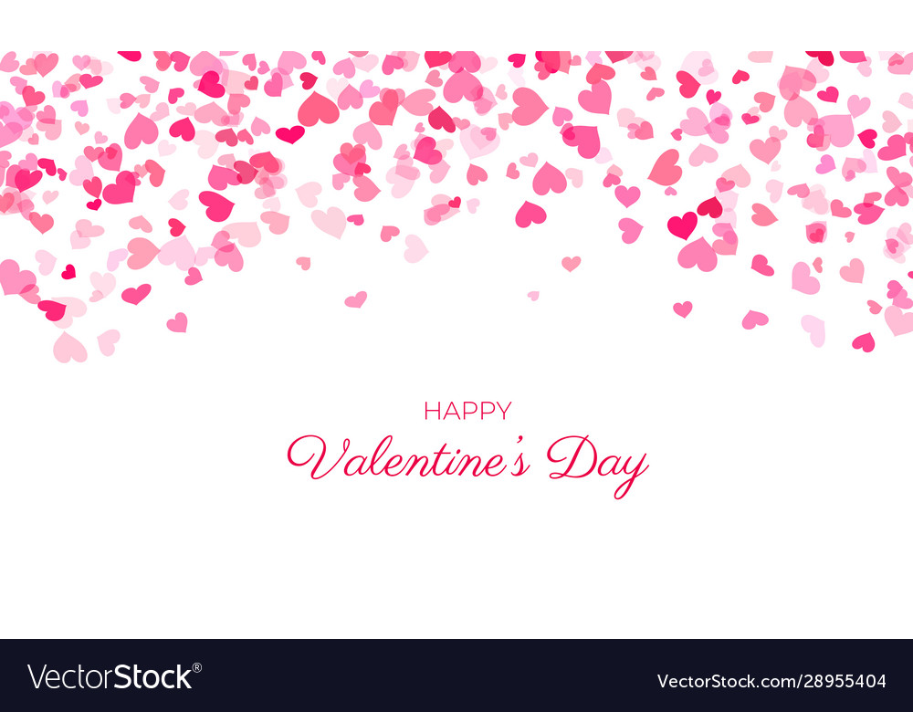 Heart confetti falling background valentine s love