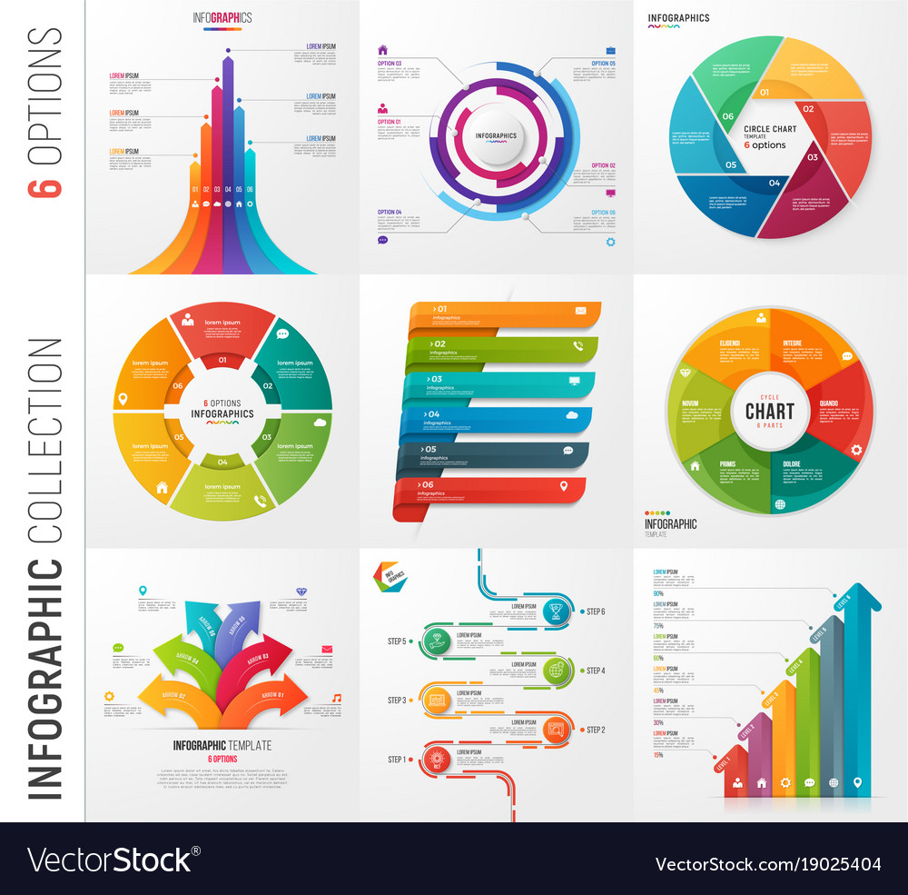 Infographic collection of 6 options