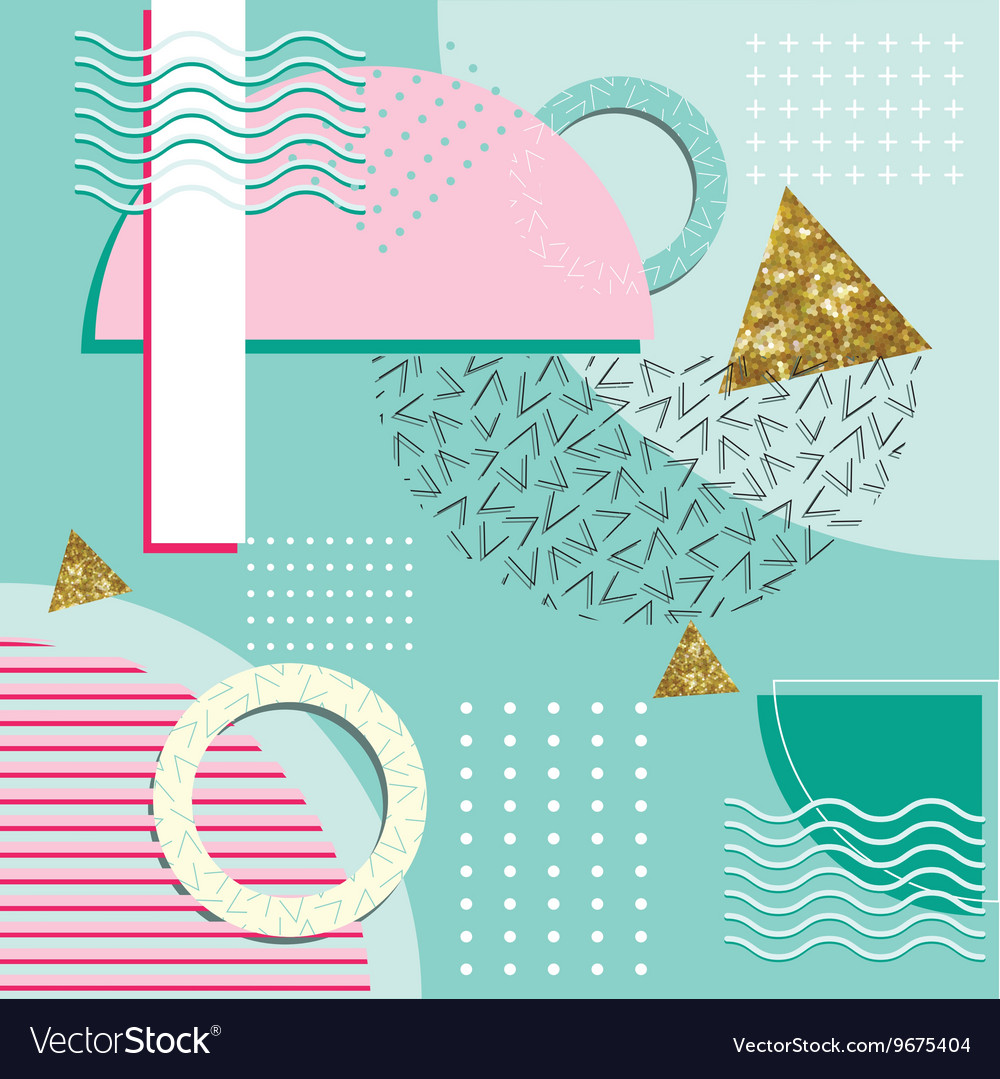 Memphis style abstract background with geometric