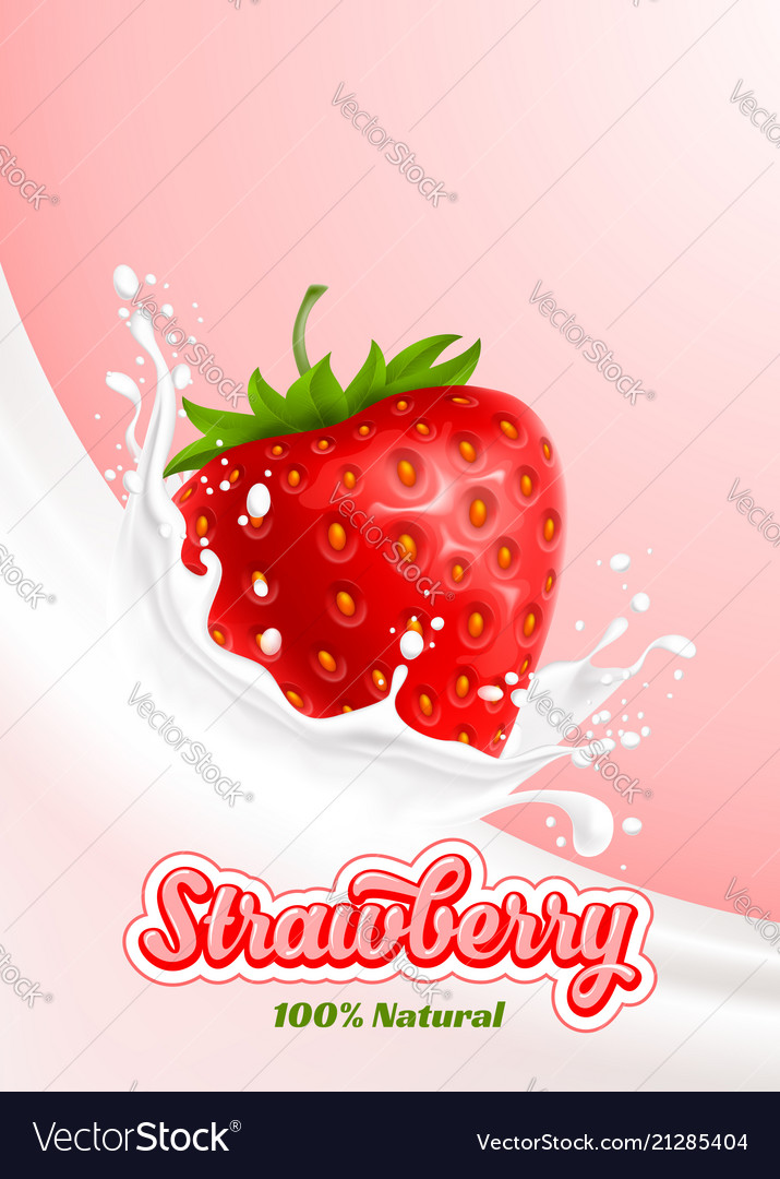 Milk splash and strawberry