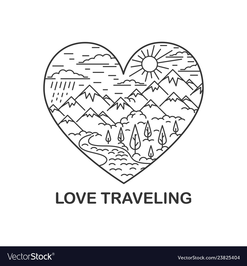 Nature traveling in heart shape vector
