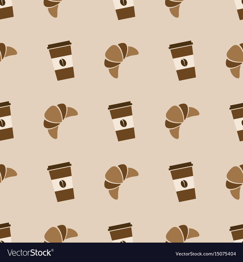 Seamless pattern with coffee and croissant