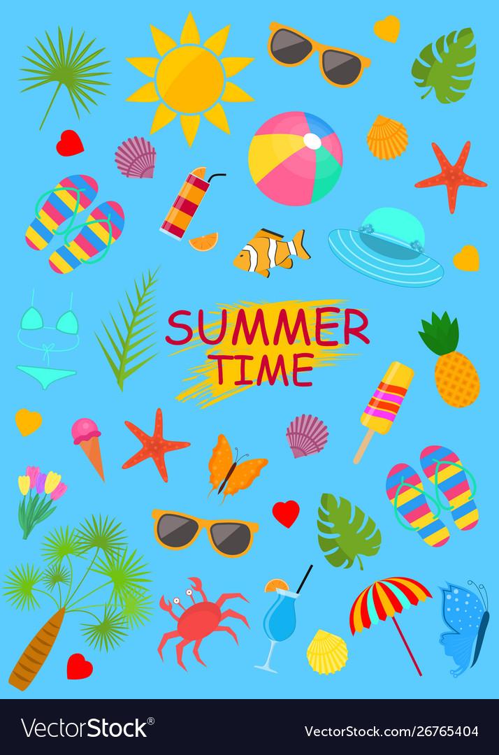 Summer time color elements set on a blue