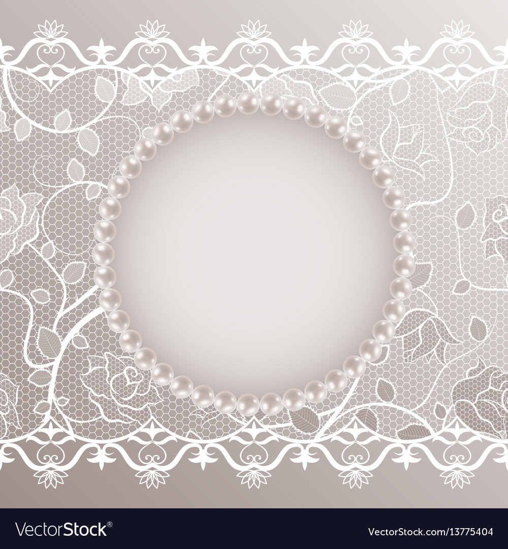 Vintage card with lace and pearls