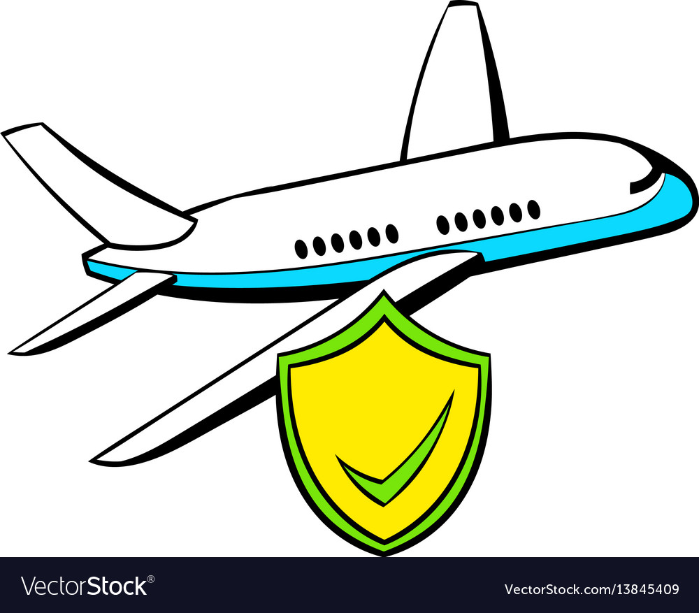 Aircraft insurance icon cartoon