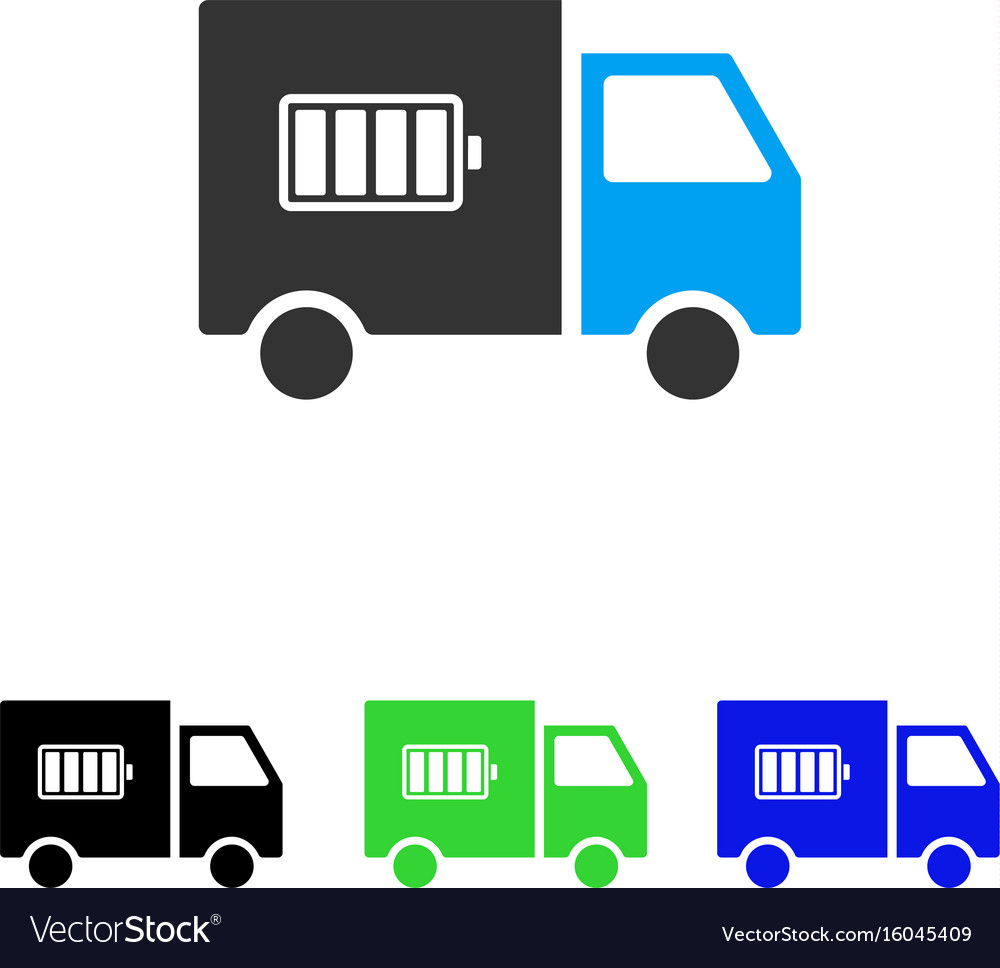 Battery delivery truck flat icon
