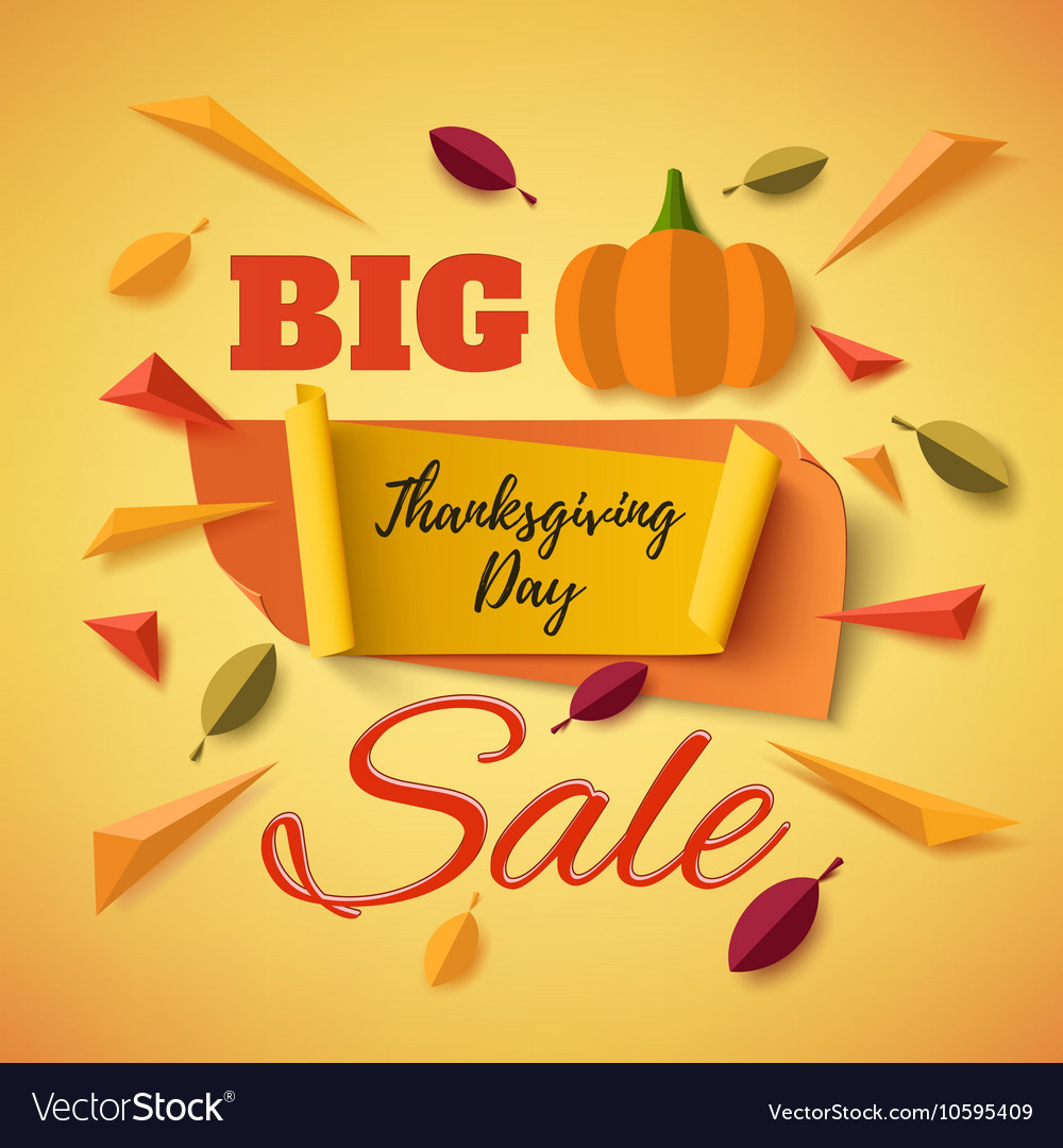 Big Thanksgiving Day Sale Banner With Abstract Vector Image