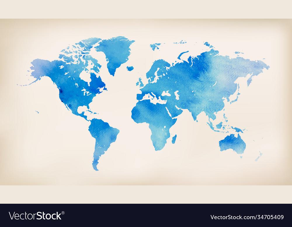 Blue world map on vintage paper background