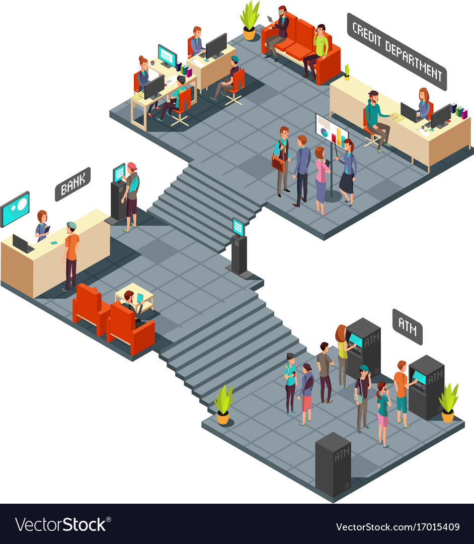 Commercial bank office 3d isometric interior with vector image