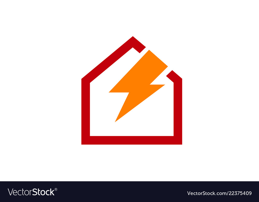 Creative red home power logo