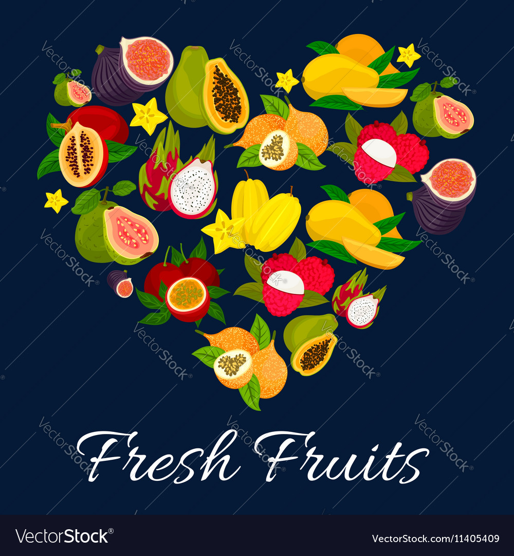 I love fresh fruits emblem in heart shape