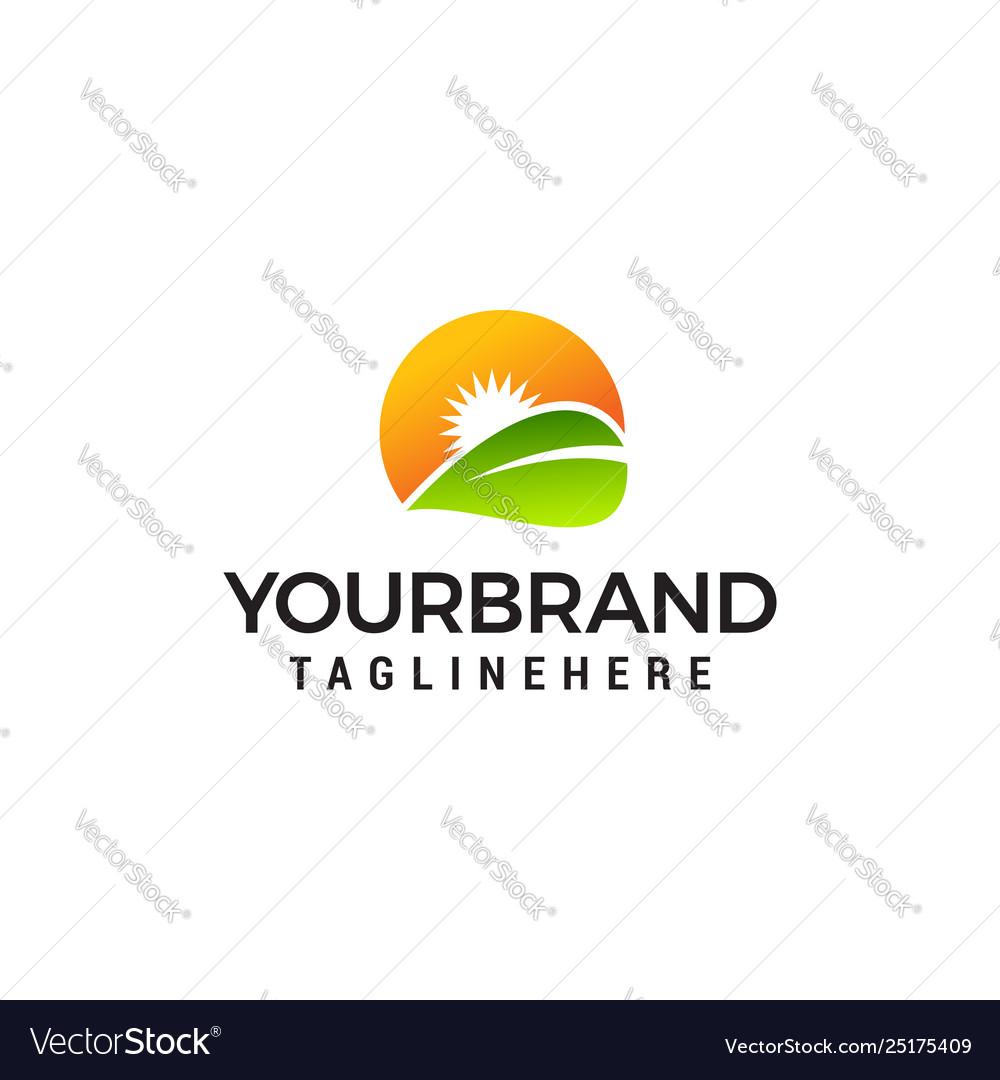 Leaf and sun logo design concept template