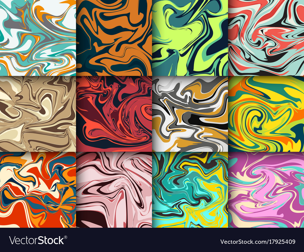 Liquid paint abstract marble background pattern vector image