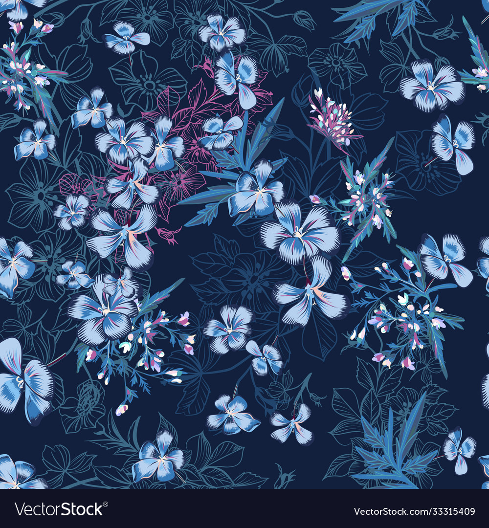 Seamless pattern with hand drawn blue flowers