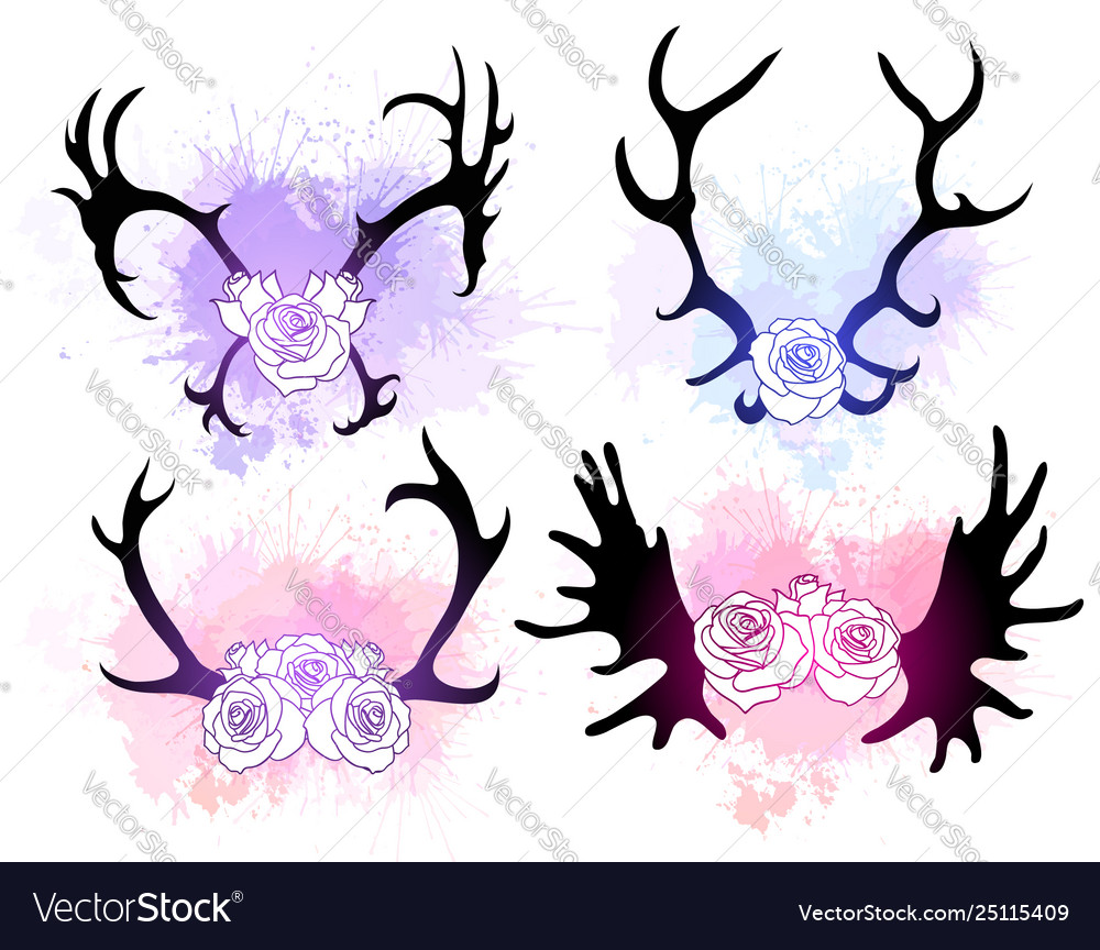 Set blac silhouettes deer and elk horns with