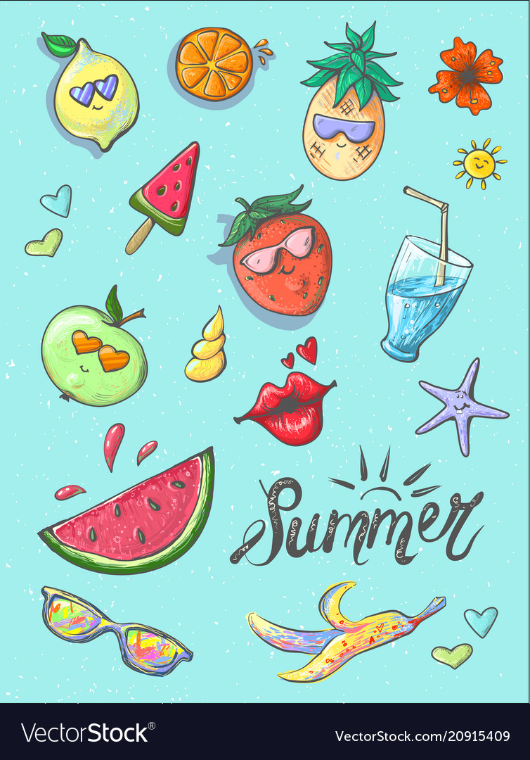 Set of summer fashion patches fun stickers cute