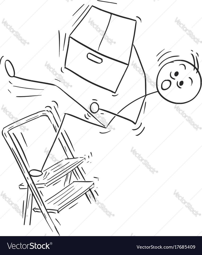 Stick man cartoon of man falling from stepladder