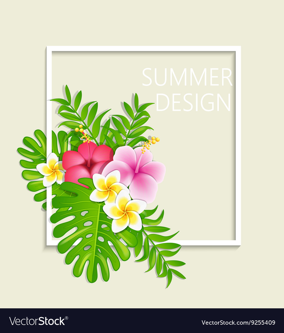 Summer frame with tropical flowers