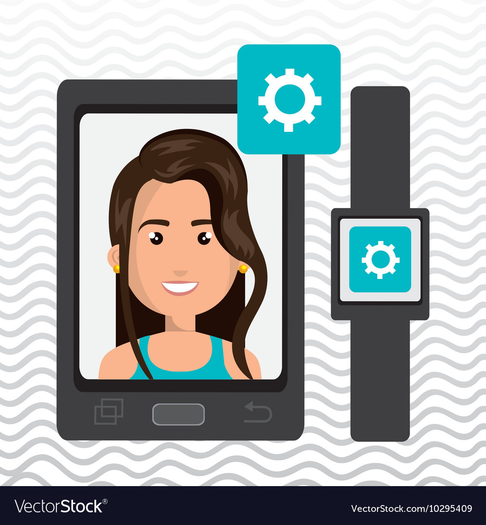 woman on the screeen of a smarthone design vector image