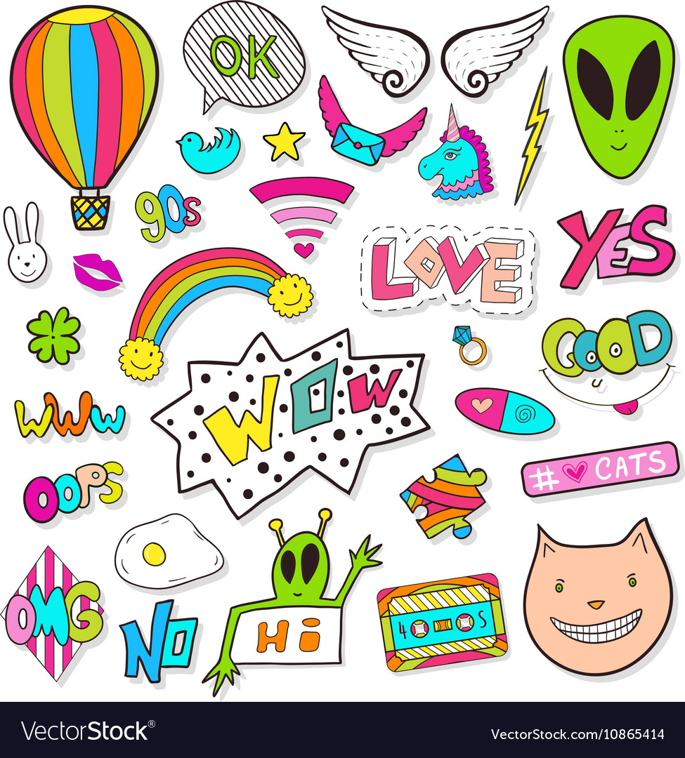 Fashion patches elements with alien speech