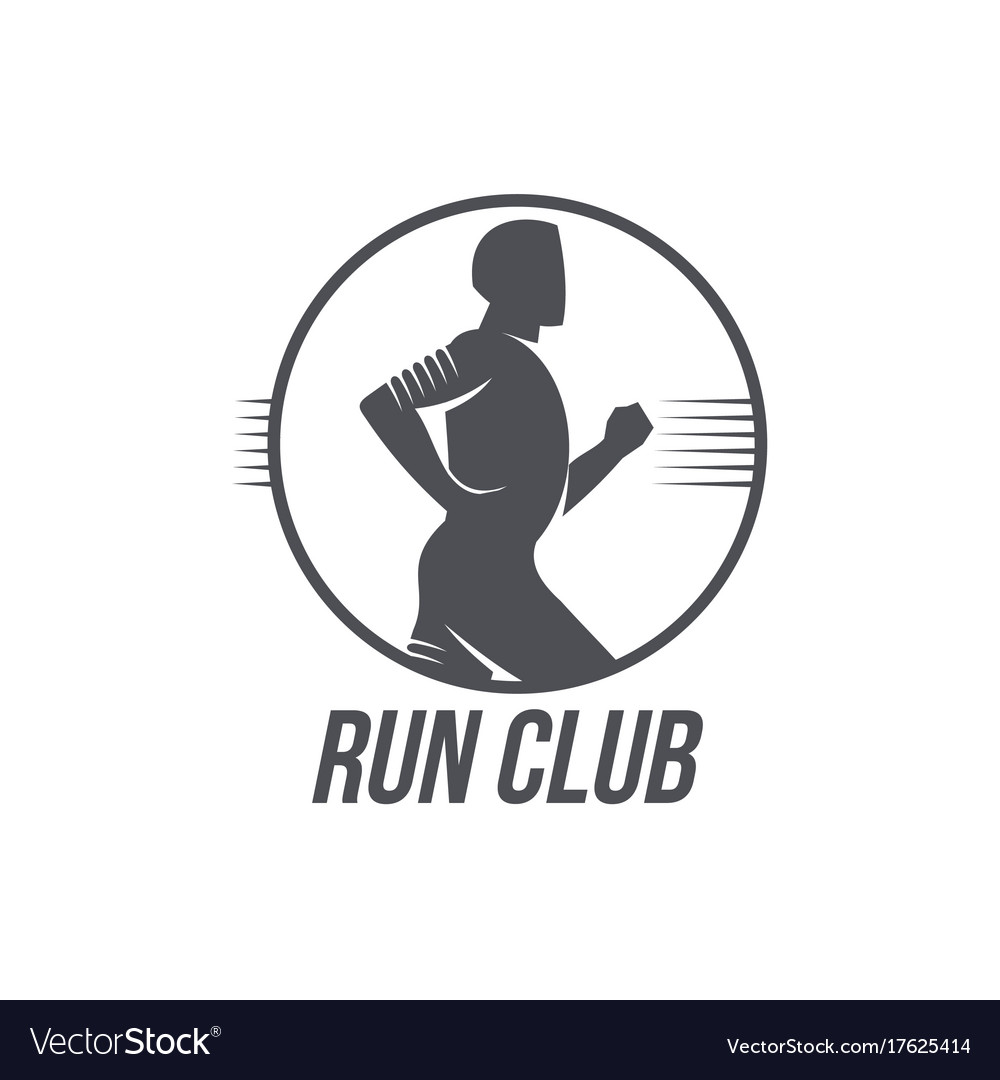 Run club logo template with side view jogging man