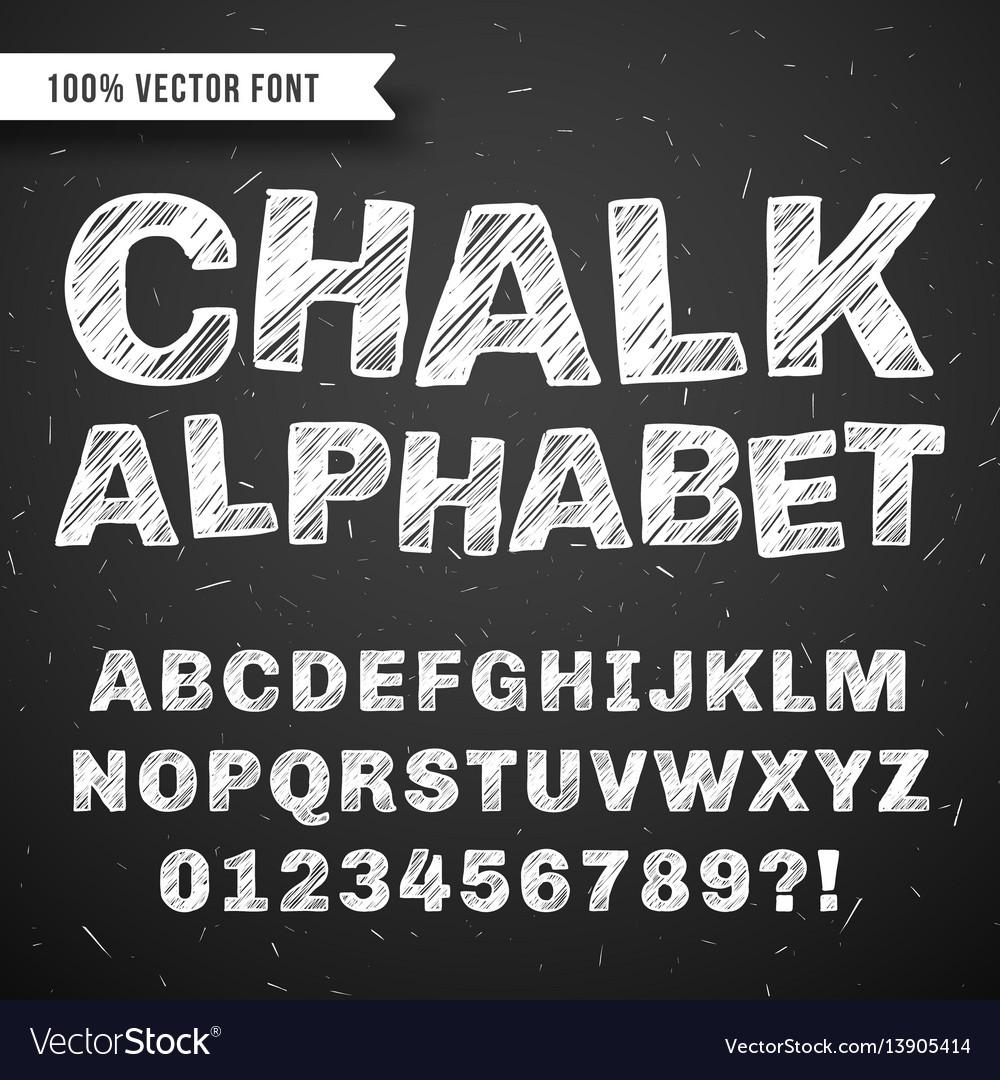 White chalk hand drawing alphabet school vector image