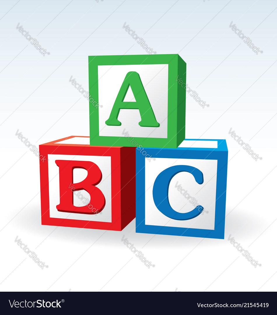 abc letter blocks royalty free vector image vectorstock