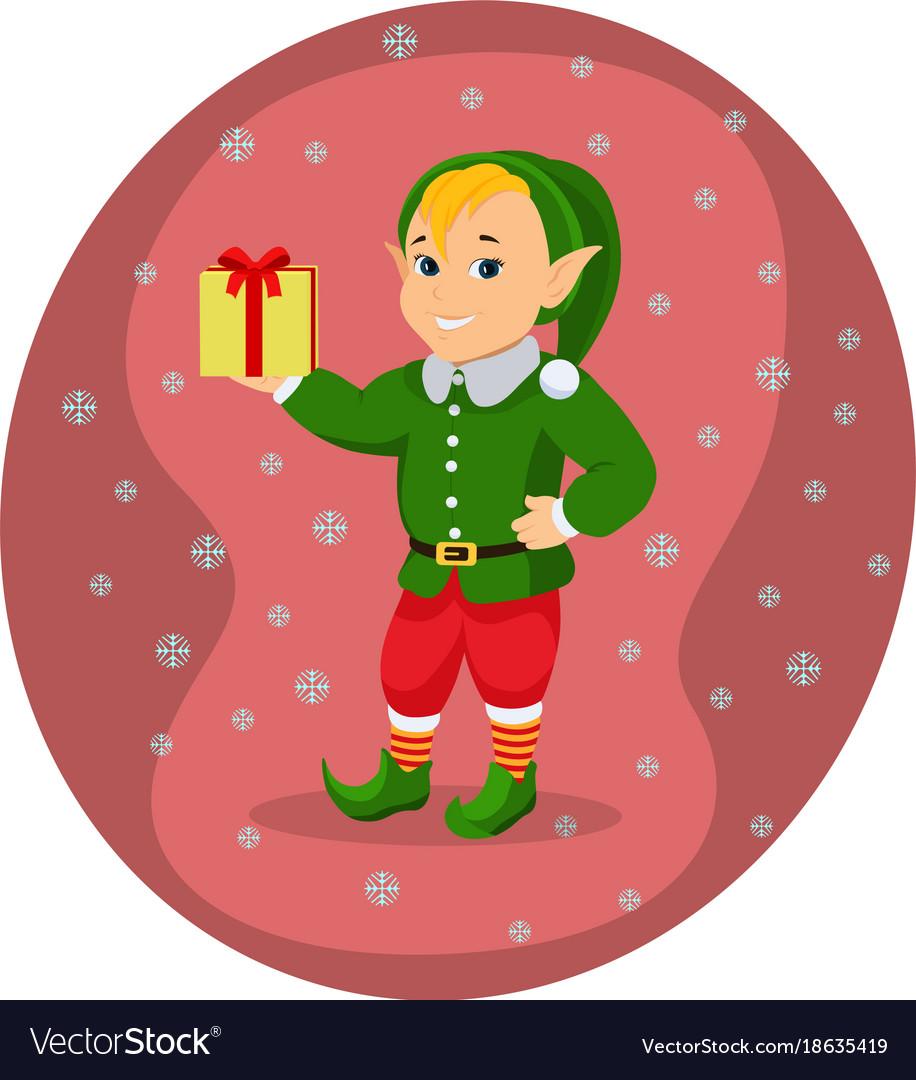 Cartoon cute christmas elf with gift box