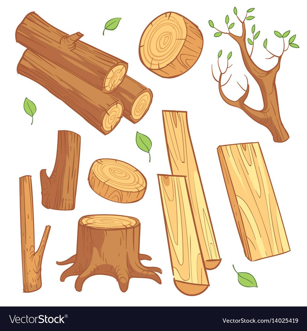 cartoon wooden materials lumber firewood wood vector image rh vectorstock com wood vector texture wood factory