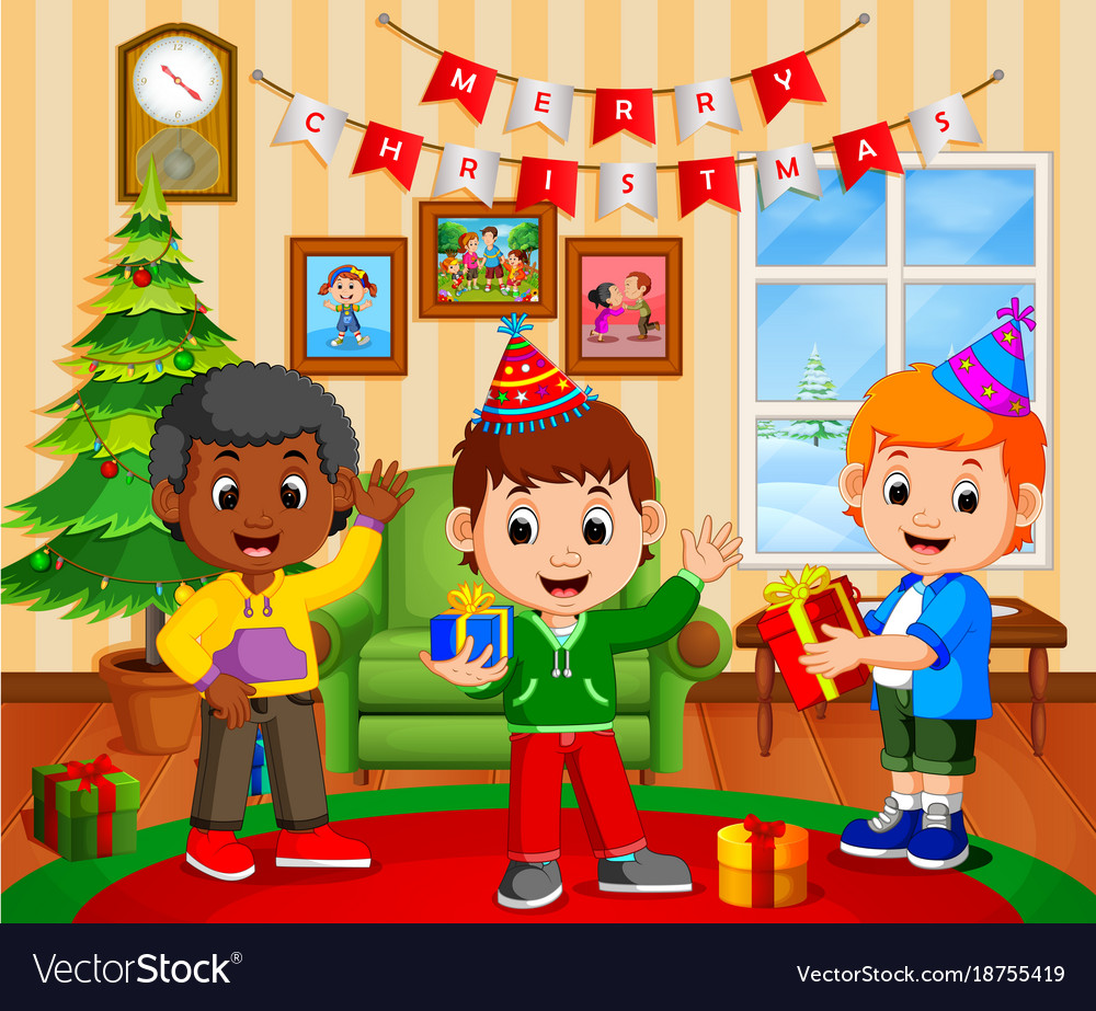 Cute Kids In The Living Room During Christmas