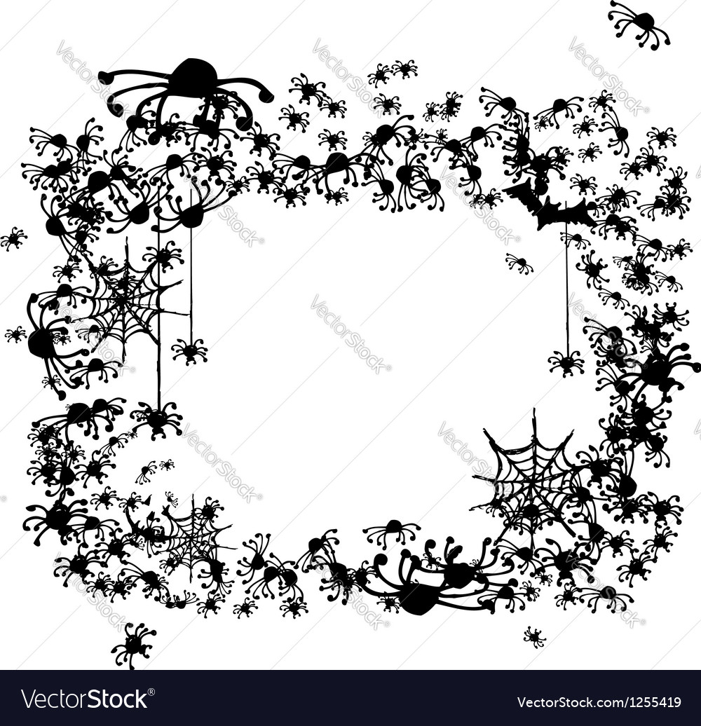 Halloween frame made from spiders and bats vector image
