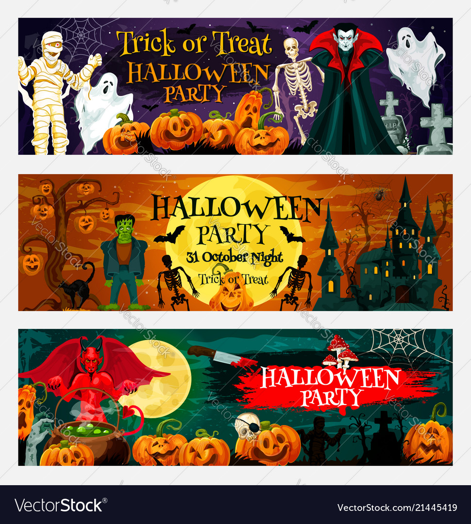 Halloween Party Invitation Banner With Pumpkin