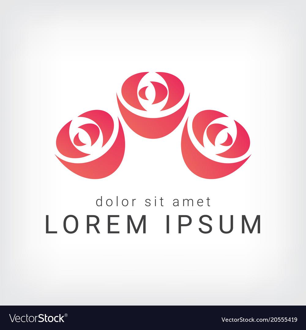 Orange rose curve logo design template vector image