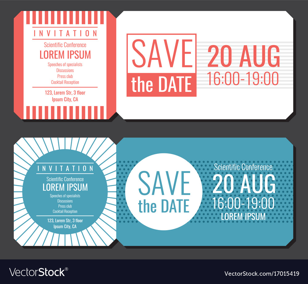 Save the date minimalist invitation ticket vector image stopboris Image collections